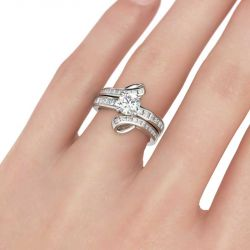 Bypass Round Cut Interchangeable Sterling Silver Ring Set