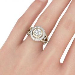 Two Tone Double Halo Round Cut Sterling Silver Ring