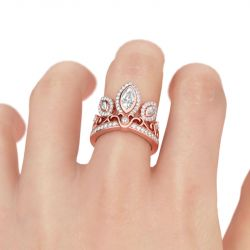 Rose Gold Tone Crown Sterling Silver Cocktail Ring