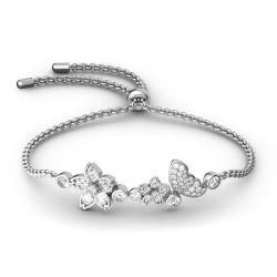 Flower and Butterfly Sterling Silver Bolo Bracelet