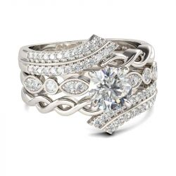 Twist Bypass Round Cut Sterling Silver Ring Set