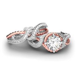Twist Two Tone Round Cut Sterling Silver Ring Set