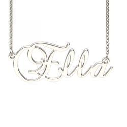 Silver Brockscript Style Name Necklace