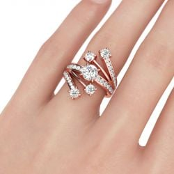 Fancy Rose Gold Tone Round Cut Sterling Silver Ring