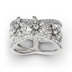 Split Shank Flower Sterling Silver Ring