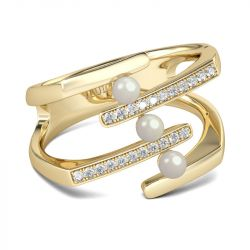 Gold Tone Faux Pearl Sterling Silver Ring