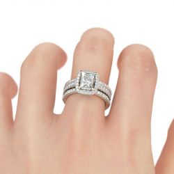 Halo Radiant Cut Sterling Silver Enhancer Ring Set