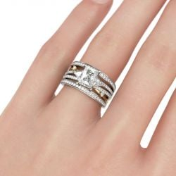 Three Stone Radiant Cut Interchangeable Sterling Silver Ring Set