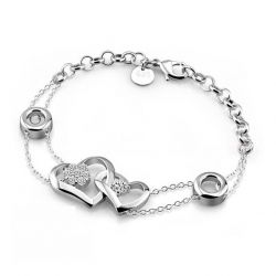 Linked Heart Sterling Silver Bracelet