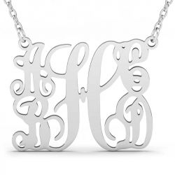 Customized 5 Initials Family Monogram Necklace Sterling Silver