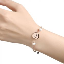 Disc Cultured Pearl Sterling Silver Bracelet