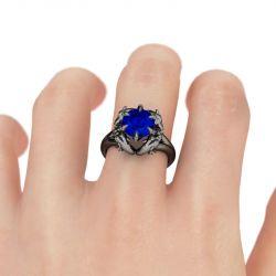 Black Tone Round Cut Sterling Silver Dragon Ring
