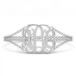 Double Chain Sterling Silver Monogram Bracelet