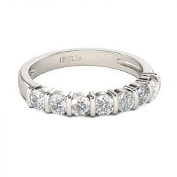 Bar Setting Round Cut Sterling Silver Women's Band