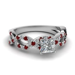 Twist Princess Cut Sterling Silver Ring
