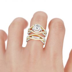 Interwoven Halo Round Cut Sterling Silver Ring Set