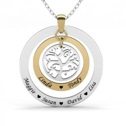 Engraved Name Family Necklace Sterling Silver