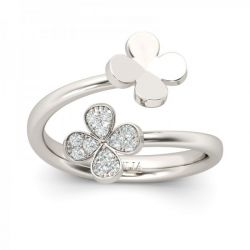 Four Leaf Clover Design Sterling Silver Ring