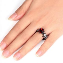 Black Tone Round Cut Sterling Silver Dragon Ring