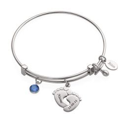 Classic Baby Feet Bangle Sterling Silver