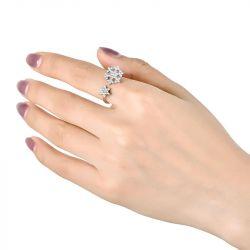 Floral Design Sterling Silver Adjustable Ring
