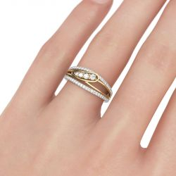 Two Tone Round Cut Sterling Silver Women's Band