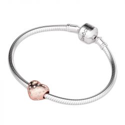 Rose Gold Heart Charm Sterling Silver