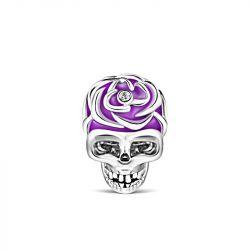 Purple Skull Charm Sterling Silver