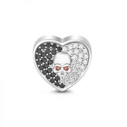 Heart Shape Black & White Stone Skull Charm Sterling Silver
