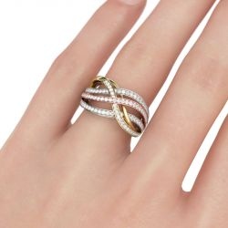Tri-Tone Interwoven Round Cut Sterling Silver Women's Band