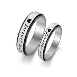 Jeulia Forever Love Titanium Steel Couple Rings