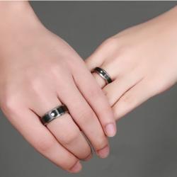 Black Titanium Steel Couple Rings