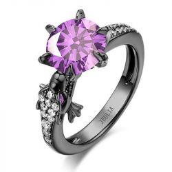 Jeulia Round Cut Dragon Ring