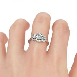 Halo Three Stone Round Cut Sterling Silver Ring