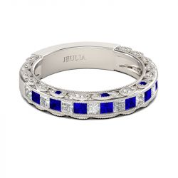 Classic Princess Cut Sterling Silver Women's Band