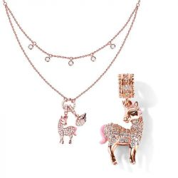 Jeulia Rose Gold Tone Unicorn Sterling Silver Jewelry Set