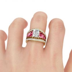 Gold Tone Radiant Cut Sterling Silver Ring Set