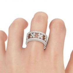 Three Side Pave Round Cut Sterling Silver Women's Band