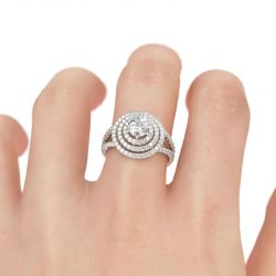 Three Halo Round Cut Sterling Silver Ring