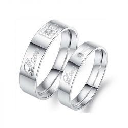 Love Key And Lock Titanium Steel Couple Rings