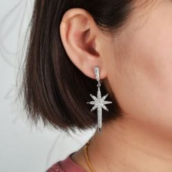 Unique Star Earrings Sterling Silver