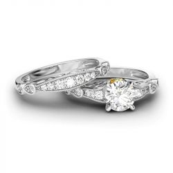 Classic Scrollwork Round Cut Sterling Silver Ring Set