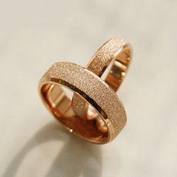 Rose Gold Tone Titanium Steel Couple Rings