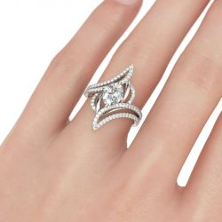 Jeulia  Bypass Oval Cut Sterling Silver Ring