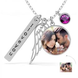 Angel's Wing Personalized  Photo Necklace Sterling Silver