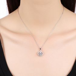 Heart Halo Sterling Silver Necklace