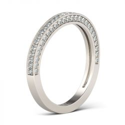 Pave Round Cut Sterling Silver Women's Wedding Band