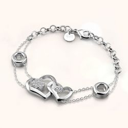 Linked Heart Sterling Silver Bracelet