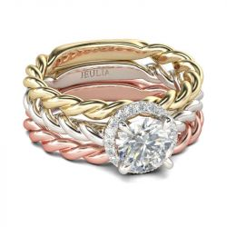 Braided Halo Round Cut Sterling Silver Ring Set