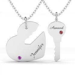 Key to My Heart Engraved Name Necklace With Birthstone For Couple Sterling Silver